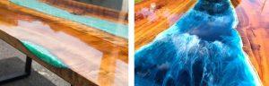 رنگ آمیزی رزین و ریختن یک اثر آب