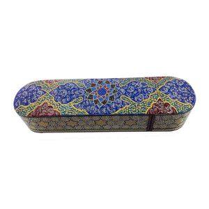 قلمدان چوبی خاتم کاری اصفهان با طرح تذهیب و خاتم توپی
