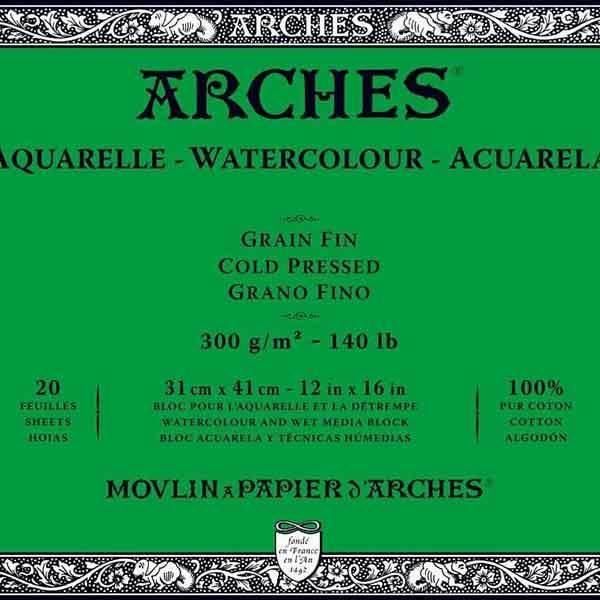 مقایسه انواع مقواهای آرچ (arches watercolor paper)