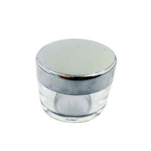 دوات خوشنویسی کریستالی شفاف درب نقره ای سایز کوچک