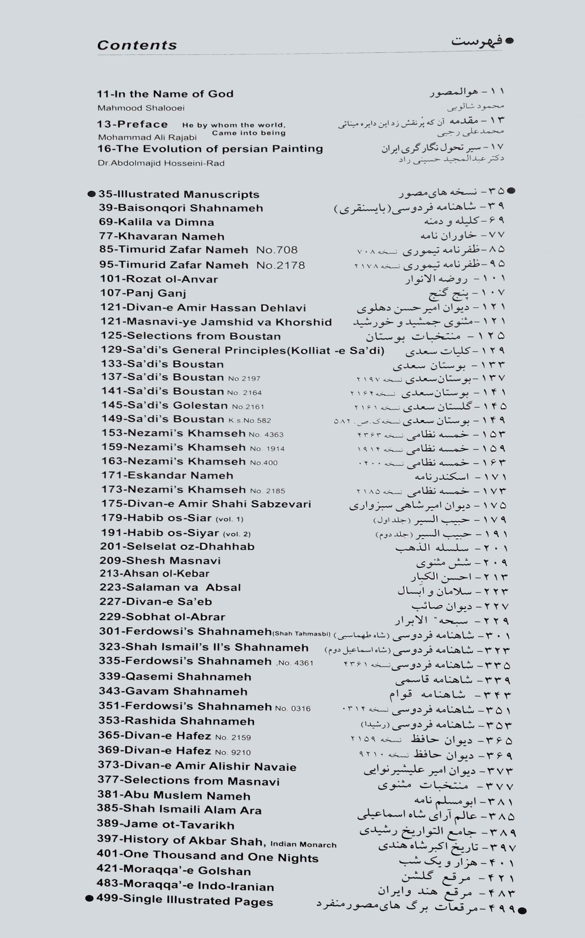 فهرست موضوعات