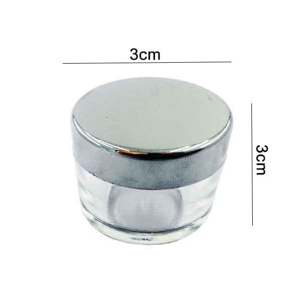 دوات خوشنویسی شیشه ای شفاف درب نقره ای سایز کوچک