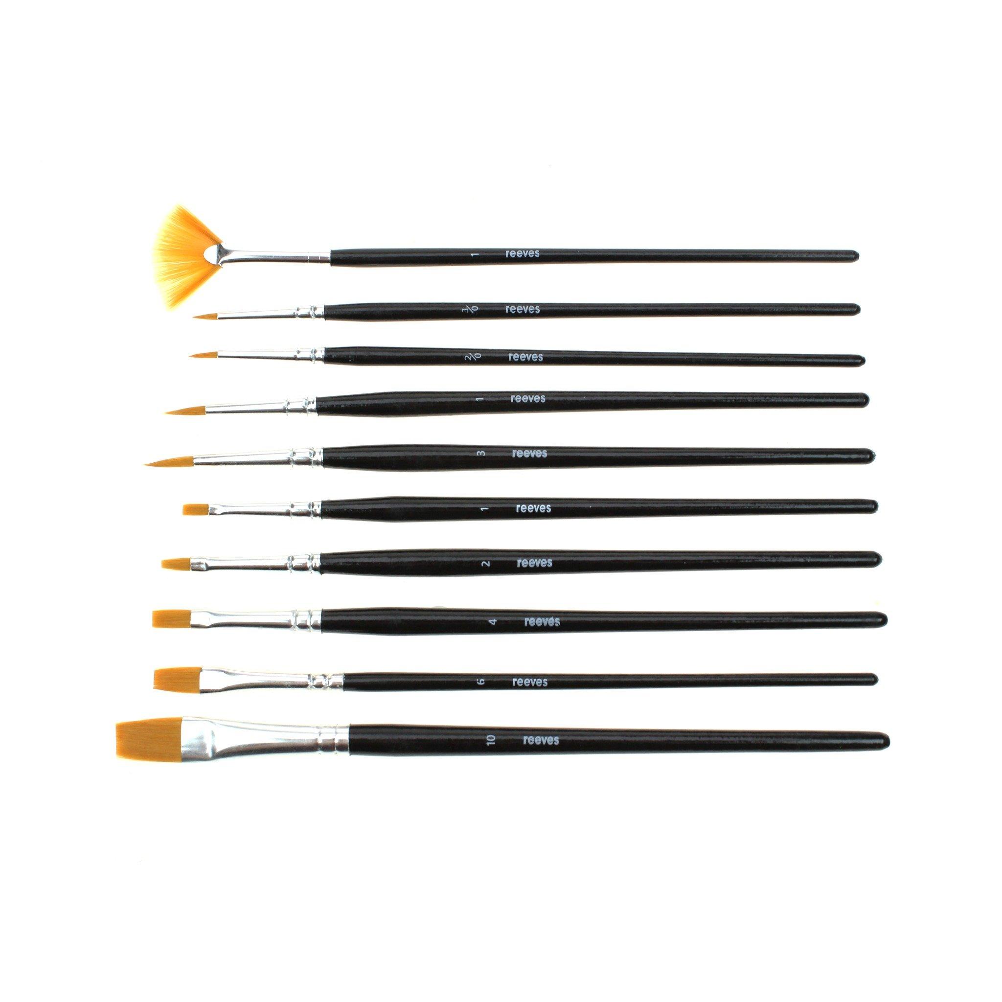 ست قلمو آبرنگ ریوز ۱۰ عددی reeves brushes watercolor